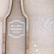 Wine Bottle Wedding Guest Book Alternative With Hearts, Drop Top