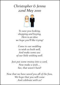 Money Instead Of Wedding Gifts Poem