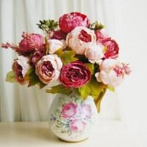 1 Pcs (8 Heads Bunch) Vintage Noble Large Peony Bouquet Home