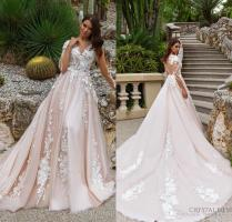 2018 Stunning Designer A Line Wedding Dresses Illusion Neckline