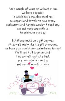 Wedding Money Poem Cards N11 Ideal Way To Request Money For Your