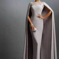 Janique 2016 Cheap Long With Cape Lace Mother Of The Bride Dresses