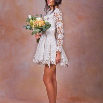 Daniela Lace Short Wedding Dress Ivory Or White Crochet Lace