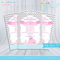 Baby Shower Invitations Girl Whale Pink Girly Pink Gray Invitation