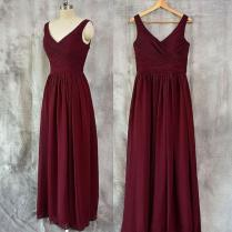 V Neck Chiffon Burgundy Floor Length Bridesmaid Dresses