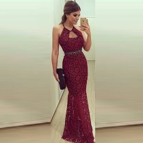 Charming Burgundy Prom Dresses O Neck Floor Length Lace Prom Gowns