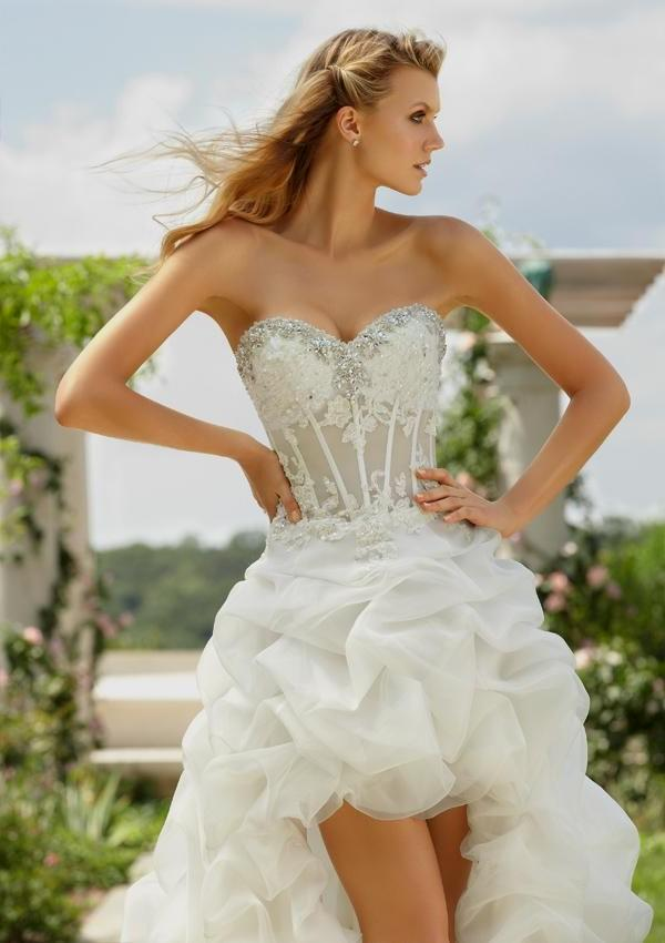 Short See Through Corset Wedding Dresses