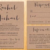Digital Printable Kraft Paper Wedding Invitation Suite Classic