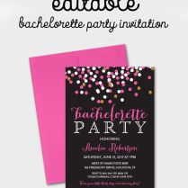 Free Editable Bachelorette Party Invitation – Gray Hot Pink Gold
