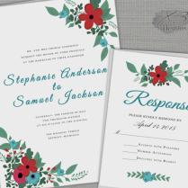Floral Barn Wedding Invitation Set, Printable Rustic Wedding