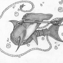 Hammerhead Shark With Anchor Rope Tattoo Design