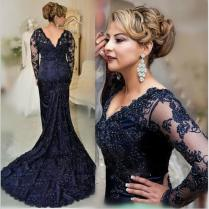 New 2017 Navy Mermaid Mother's Dresses Plus Size Lace Mother Of