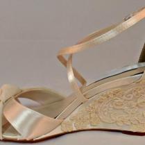 Pearl And Lace Bridal Wedge Vintage Lace Wedding Wedge Three Inch
