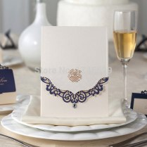 Personalized Elegant White Dark Blue Lace Edge And Bling Diamond