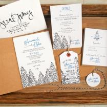 Pine Tree Pencil Drawing Wedding Invitation