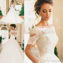 Discount 2017 Country Style Short Sleeves Wedding Dresses Lace