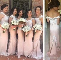 Rose Gold Long Bridesmaid Dresses 2017 Mermaid Lace Cap Sleeves
