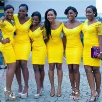 Hot 2017 South African Bright Yellow Short Bridesmaid Dresses