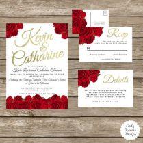 Red Rose Wedding Invitations Red Rose Wedding Invitation Romantic