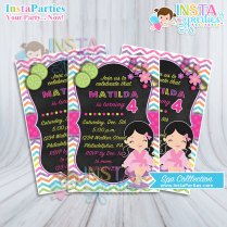 Spa Party Invitations Little Girl Pink Birthday Invitation Digital