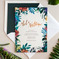 Tropical Garden Party Copper Foil Wedding Invitations