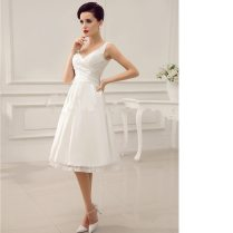 V Neck Backless Pleated Satin Short Wedding Dress Lace Up Vestido