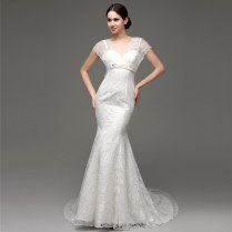 White Beautiful Lace Affordable Wedding Dress Designers Modest