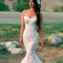Picture Of A Strapless Blush Mermaid Wedding Gown In Blush With