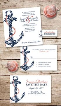 Navy And Coral Anchor Wedding Invitation (25pk)