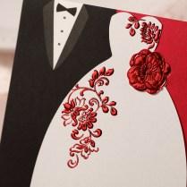 2014 Red Gold Bridal And Groom Wedding Invitations Card , Wedding