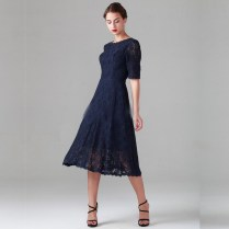 2016 Navy Blue Bridesmaid Dresses Beach A Line Vintage Half Sleeve