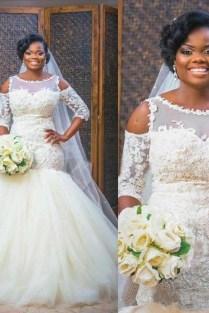 Mermaid Lace Appliques Half Sleeves Bridal Dresses Tulle Bottom