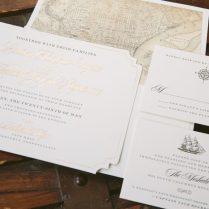 Vintage Typography Wedding Invitations For Philadelphia Tall Ship