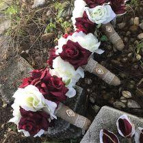 3 Rustic Shabby Burlap Toss Bridesmaids Burgundy Ivory Wedding