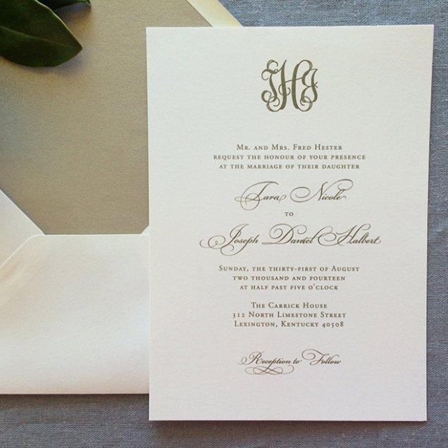 Classic Monogram Wedding Invitation In Gold Ink