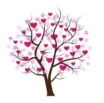 Love Design Tree With Hearts Vector Art