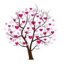 Love Design Tree With Hearts Vector Art