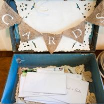 Vintage Suitcase Card Box With Burlap Bunting From Erika & Dave's