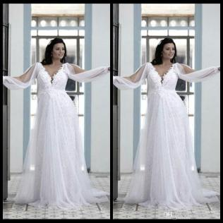 Discount Beautiful Plus Size Wedding Gowns 2016 Ivory Beach Cheap