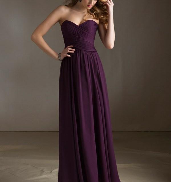 Chiffon Bridesmaid Dress With Sweetheart Neckline