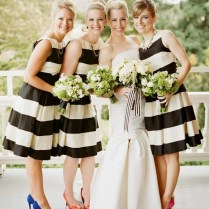 Black And Ivory Striped Bridesmaid Dresses
