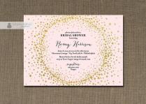 Blush Pink & Gold Glitter Bridal Shower Invitation Metallic Gold