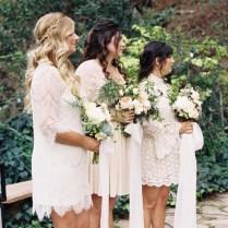 Bridesmaids Wear White Lace Dresses