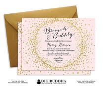Brunch & Bubbly Invitation Bridal Shower Invite Blush Pink Gold