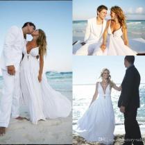 Discount Cheap 2017 Chiffon Beach Wedding Dresses Spaghetti Straps