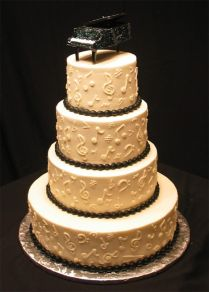 Musical Notes Wedding Cake With Piano Topper
