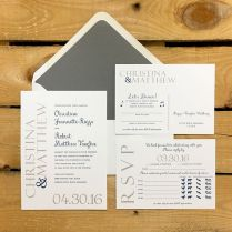 Navy & Gray Weeding Invitations