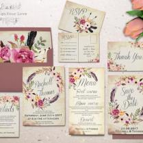 Floral Wedding Invitation Set Printable Boho Wedding Invitation