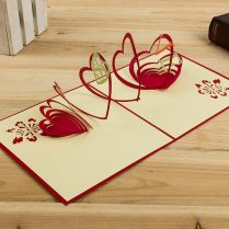 Hollow Out Heart Design Red&green Handmade 3d Pop Up Cards With