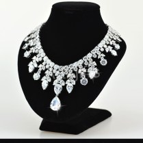 Luxury Diamond Necklace Designs White Gold Plating Cubic Zirconia